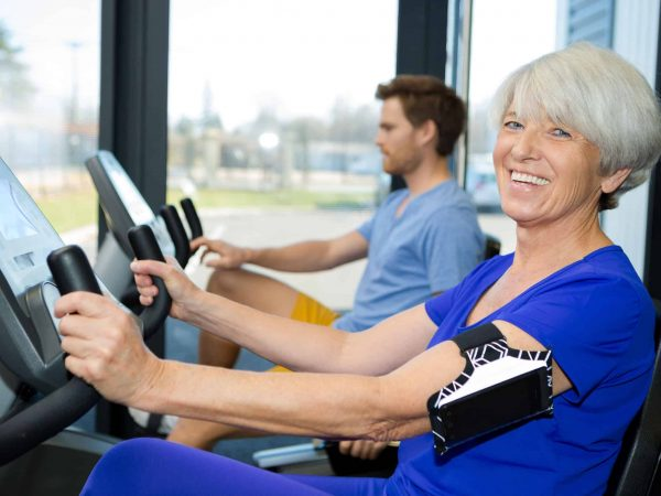 senior woman in fitness center