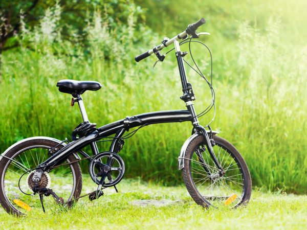Profile shot of black folding bicycle in the grass.
