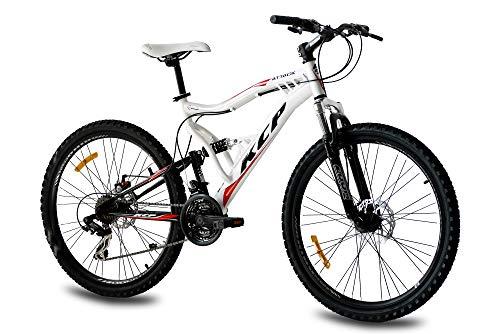 KCP 26 Zoll Mountainbike Fahrrad - MTB Attack Weiss schwarz - Vollfederung Mountain Bike Unisex für Herren, Damen oder Jungen, MTB Fully mit 21 Gang Shimano Schaltung und Zwei Scheibenbremsen