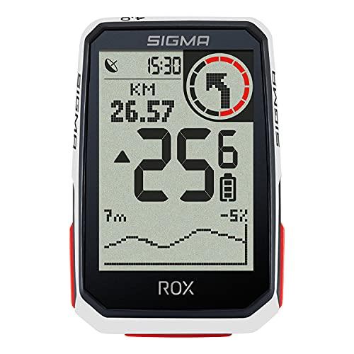 SIGMA SPORT ROX 4.0 White  Fahrradcomputer kabellos GPS & Navigation inkl. GPS Halterung   Outdoor GPS Navigation mit Höhenmessung