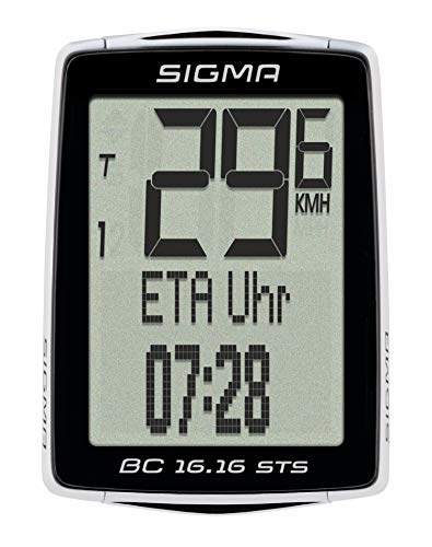 Sigma Sport Fahrrad Computer BC 16.16 STS, 16 Funktionen, Ankunftsanzeige, Kabelloser Fahrradtacho, Schwarz