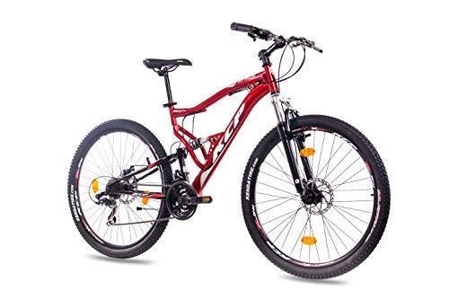 KCP 27,5 Zoll Mountainbike Fahrrad - MTB Attack rot schwarz - Vollfederung Mountain Bike Unisex für Herren, Damen oder Jungen, MTB Fully mit 21 Gang Shimano Schaltung und Zwei Scheibenbremsen