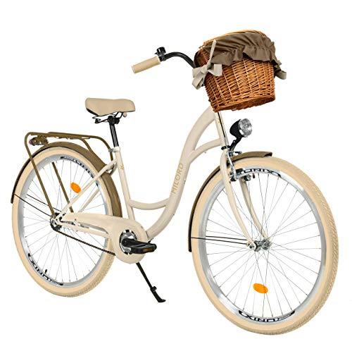 Milord. 26 Zoll 3-Gang Creme-braun Komfort Fahrrad mit Korb und Rückenträger, Hollandrad, Damenfahrrad, Citybike, Cityrad, Retro, Vintage
