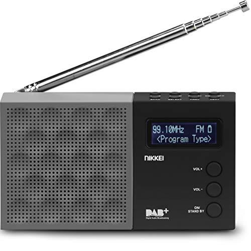 Nikkei NDB30BK - Tragbares DAB + Radio mit PLL FM - USB, 3,5-mm-Buchse, Radiowecker, LCD-Display, Akku - Küchenradio - Schwarz / Grau
