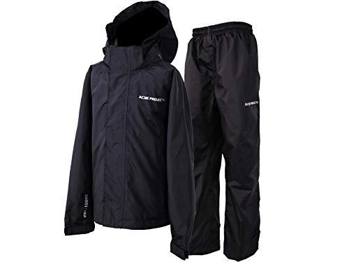 Acme Projects Damen Regenanzug (Jacke + Hose), 100% wasserdicht, atmungsaktiv, Klebebandnaht, 10000 mm / 3000 g, YKK-Reißverschluss, (Frauen, 40, schwarz)