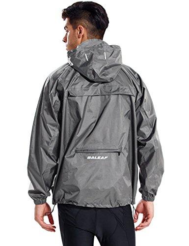 BALEAF Unisex Regenjacke Einpackbar Wasserdicht Wetterschutz Jacke mit Kapuze Poncho Regenmantel Grau L