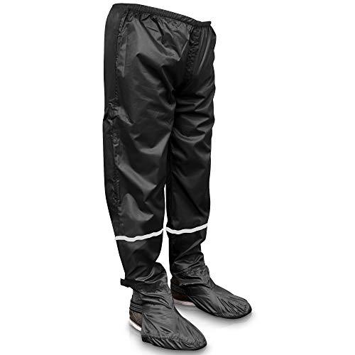 Rainrider Regenhose für Damen und Herren (schwarz) wasserdicht inkl. einfaltbare Schuhüberzieher, Regenfeste Fahrradbekleidung geeignet zum Wandern, Angeln oder als Gartenhose