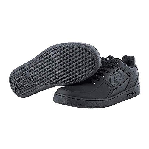 O'NEAL | Mountainbike-Schuhe | MTB Downhill Freeride | Vegan | Gleichgewicht zwischen Grip und Fußrepositionierung, Waben-Sohlenstruktur | Pinned Flat Pedal Shoe | Erwachsene | Schwarz | Größe 43