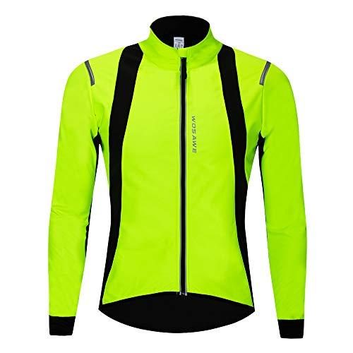 WOSAWE Fahrrad Jacke Herren Wasserdicht Winddicht Fahrradjacke Reflektierend MTB Fahrradbekleidung für Herbst Winter (BC232 Grün XL)