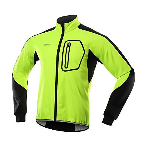 BERGRISAR Fahrradjacke Herren Winter Fleece Softshell Jacke Mtb Jacke Radsport-jacken mit Wasserdicht Atmungsaktiv, BG011 - Grün - X-Large