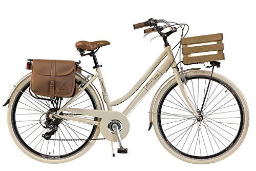 Via Veneto by Canellini Damen Citybike CTB Vintage Stil Rad Cityrad Fahrrader Bike Aluminium mit Korb Kassette (Beige, 46)