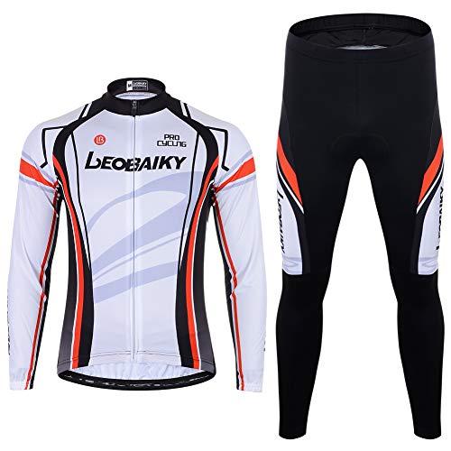 Herren Fahrradbekleidung Set Langarm Fleece Radjacke + Fahrradhose 3D Gepolsterte S - 2XL (Weiß, S)