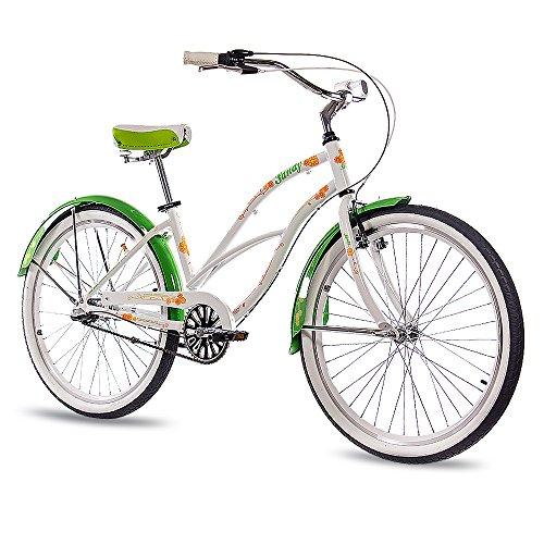 CHRISSON 26 Zoll Beachcruiser Sandy Weiss grün mit 3 Gang Shimano Nexus Nabenschaltung, Damenfahrrad im Retro Look, Vintage Cruiser Bike