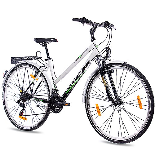 KCP 28 Zoll Trekkingfahrrad Damen - Terrion Lady Weiss schwarz - Damen-Citybike mit 18 Gang Shimano Kettenschaltung, Damen Trekkingrad mit Zoom Federgabel bequemtes Tourenfahrrad für Frauen