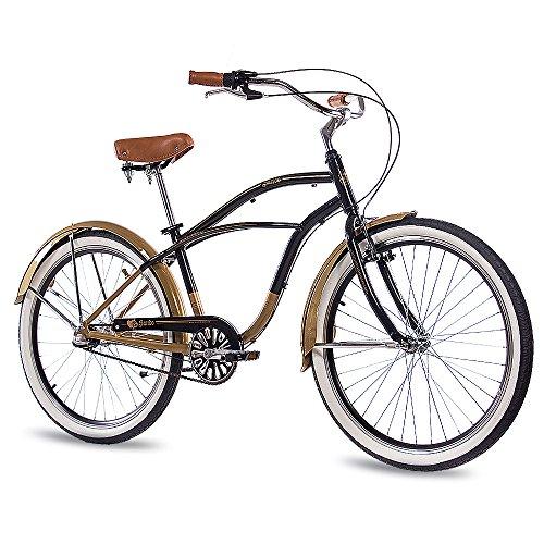 CHRISSON 26 Zoll Beachcruiser Sando schwarz Gold mit 3 Gang Shimano Nexus Nabenschaltung, Damenfahrrad, Herrenfahrrad im Retro Look, Vintage Cruiser Bike