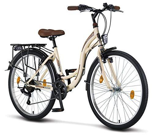 Licorne Bike Stella Premium City Bike in 26 Zoll - Fahrrad für Mädchen, Jungen, Herren und Damen - 21 Gang-Schaltung - Hollandfahrrad - Beige