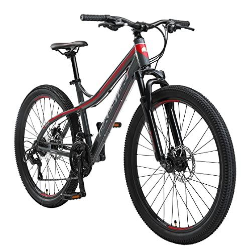 BIKESTAR Hardtail Aluminium Mountainbike Shimano 21 Gang Schaltung, Scheibenbremse 26 Zoll Reifen   16 Zoll Rahmen Alu MTB   Grau & Rot