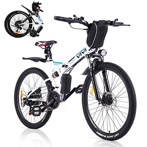 VIVI E-Bike Faltbares Elektrofahrrad,Erwachsene 26 Zoll Ebike Mountainbike Für Herren und Damen Professionelle Shimano 21-Gang-gänge Abnehmbare 36V/8Ah Batterie