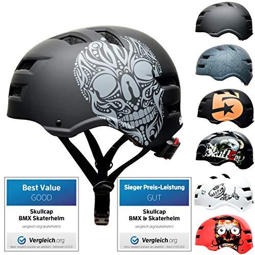 SkullCap® Skaterhelm Erwachsene Schwarz Limited Edition: Skull - Fahrradhelm Herren ab 14 Jahre Größe 55-58 cm - Scoot and Ride Helmet Adult Black - Skater Helm für BMX Inliner Fahrrad Skateboard
