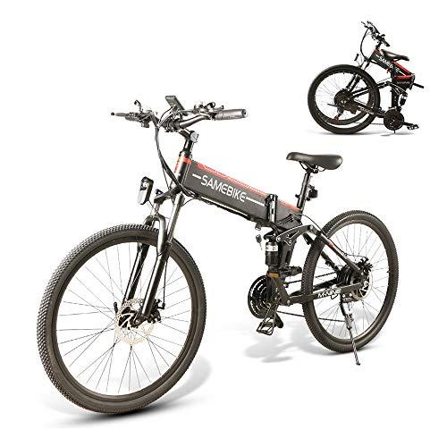 SAMEBIKE 26 Zoll Ebike Mountainbike, Faltbares Elektrisches Mountainbike für Erwachsene 48V 10AH, Elektrische Fahrräder Herren Damen I Shimano 7 Gang-Schaltung I mit Zentralem LCD Instrument