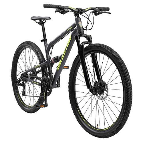 BIKESTAR Fully Aluminium Mountainbike Shimano 21 Gang Schaltung, Scheibenbremse 29 Zoll Reifen | 17.5 Zoll Rahmen Alu MTB Vollgefedert | Schwarz