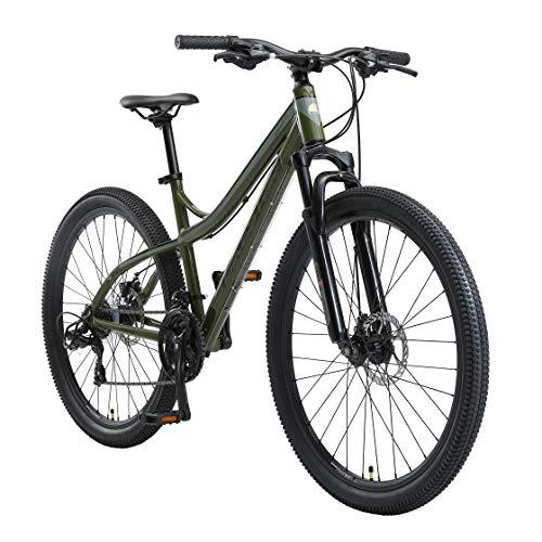 BIKESTAR Hardtail Aluminium Mountainbike Shimano 21 Gang Schaltung, Scheibenbremse 27.5 Zoll Reifen   17 Zoll Rahmen Alu MTB   Oliv & Grau
