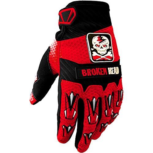 Broken Head MX-Handschuhe Faustschlag - Motorrad-Handschuhe Für Motocross, Enduro, Mountainbike - Rot - Größe M