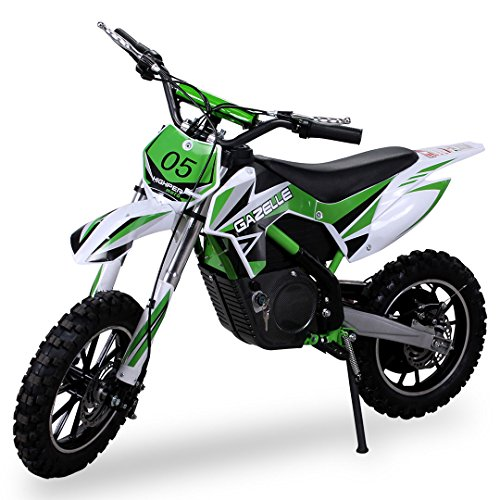 Kinder Mini Crossbike Gazelle ELEKTRO 500 WATT inklusive verstärkter Gabel Dirt Bike Dirtbike Pocket Cross (Grün)